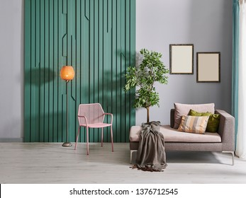 Grey room, home interior decoration with sofa chair and lamp style, white bookshelf near by table.