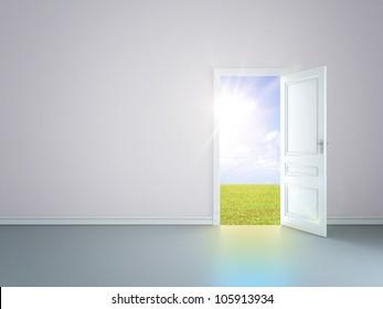 grey room with an open door in field