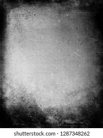 Grey scratched grunge background with frame, scary horror dusty texture, old film effect