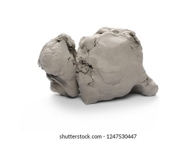 Grey sculpturing, modelling clay isolated on white background