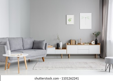 Grey settee near white cupboard in minimal living room interior with posters on the wall. Real photo