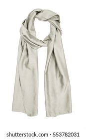 Grey silk scarf isolated on white background. Female accessory.