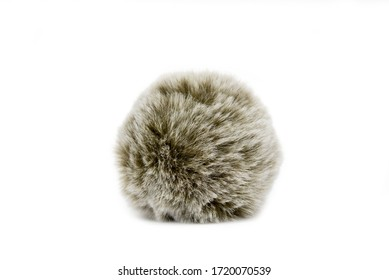 grey single pompon isolated on the white background
