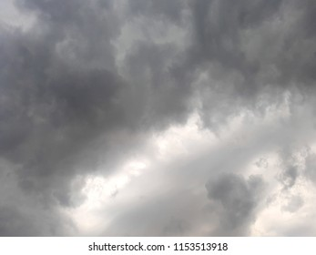 Grey sky landscape with dark clouds and storm coming
