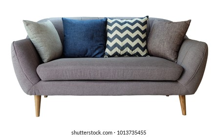 Grey sofa with 4 pillows modern style isolated on white background ,included Clipping path