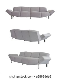 Grey Sofa in all angles on white background
