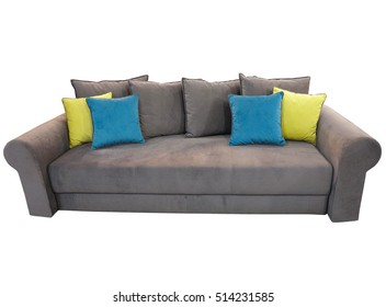 Grey sofa furniture with colored cushions isolated on white background