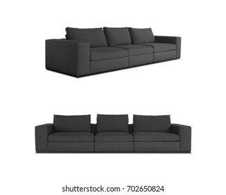 Grey Sofa isolated with different angles in white background