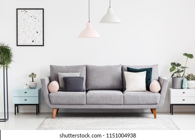 Grey sofa with pillows in white apartment interior with poster and plants on cabinets. Real photo