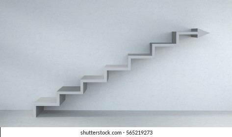 Grey stairs arrow going up on concrete wall and bright interior 3D rendering