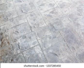 Grey stamp concrete floor background pattern texture