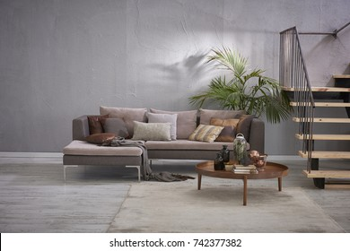 grey stone wall luxury living room and interior design