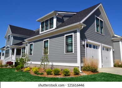 Grey Suburban American Cape Cod Home