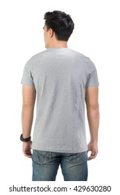 Grey t shirt on a young man template on white background,clipping path