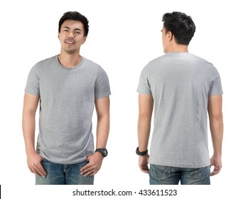 Grey t shirt on a young man template on white background.