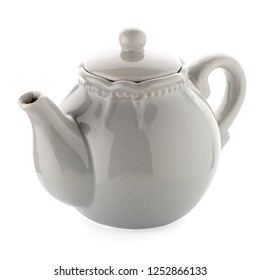 Grey teapot isolated on white background.