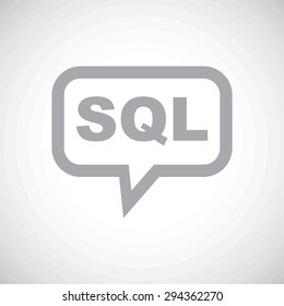 Grey text SQL in chat bubble, on white gradient background