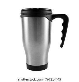 Grey thermos cup on the white
