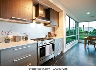 Grey tiled kitchen newly designed and renovated