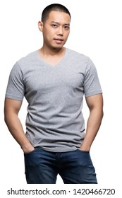 Grey top dry on asian model for v-neck tshirt blank mockup template in your clothing design.