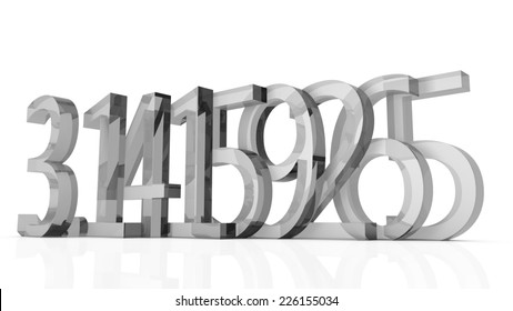 Grey transparent number Pi with with 8 decimals with white background.