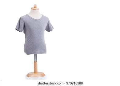 Grey t-shirt on mannequin isolated on white background. Ready for your own graphics.