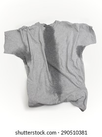 A grey t-shirt with sweat stains under sleeves and through the torso.