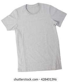 Grey T-shirt template isolated on white background with clipping path.