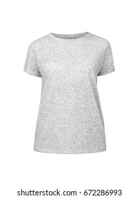 Grey t-shirt. Template of a women's t-shirt of grey color