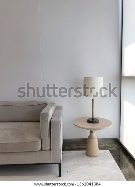 Pleasant Grey Velvet Sofa White Fabric Table Stock Photo Edit Now Squirreltailoven Fun Painted Chair Ideas Images Squirreltailovenorg