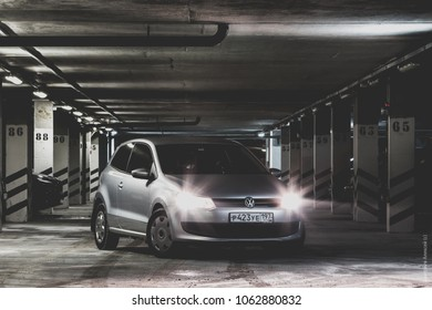 Grey volkswagen polo hatchback in garage