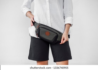 Grey waist bag on white background