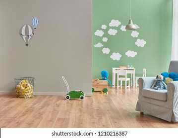 Grey wall and green background and cloudy pattern and baby child room with sofa.