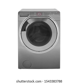 Grey Washing Machine Isolated on White Background. Electrical Domestic Household Major Appliances. Front View of Stainless Steel Front Load Washer Machine with Electronic Control Panel