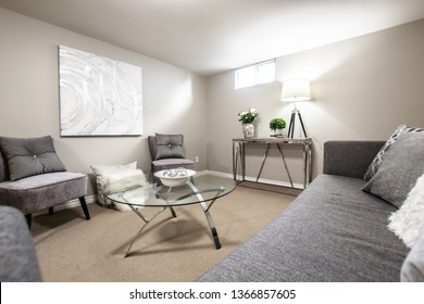Grey and white basement