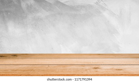 grey white color cement background with yellow cream brown wood stripe perspective view for show,advertising,promote products concept