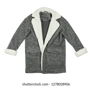 grey winter coat isolated on white