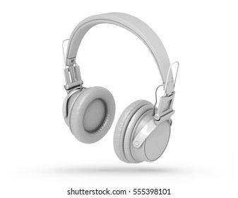 Grey wireless headphones isolated on white background with shadow. 3d Rendering