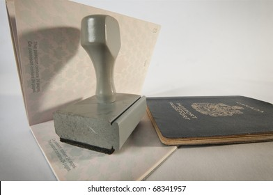 Grey wooden Rubber Stamp  on canadian passport