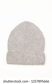 Grey woolen hat isolated