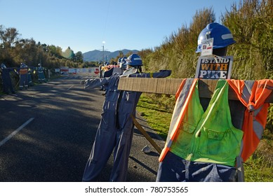 GREYMOUTH, NEW ZEALAND, MAY 13, 2017: A memorial set up at the entrance of the Pike River Coal mine near Greymouth, New Zealand. 29 miners died at the mine in 2010.