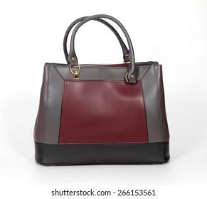 Grey-purple genuine leather bag isolated on white background