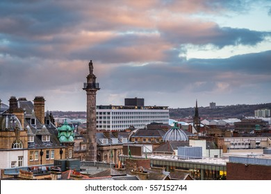 Grey's Monument in Newcastle Skyline / Newcastle city centre skyline, with Grey's Monument  towering above the rooftops, looking south