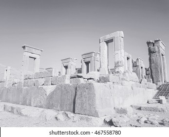Greyscale view of Anahita temple located in takht-e jamshid, Perspolis, Shiraz,  Iran
