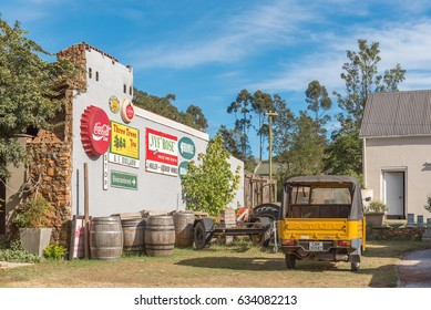 GREYTON, SOUTH AFRICA - MARCH 27, 2017: A display on the side of a restaurant in Greyton, a small town in the Western Cape Province of South Africa
