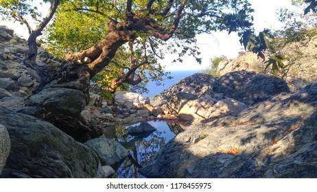 Gria Vathra Waterfalls. Island of Samothrace, Greece.