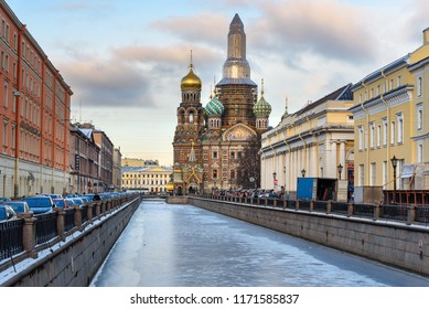 Griboyedov Canal with Church of the Savior on Blood in winter. Saint Petersburg, Russia