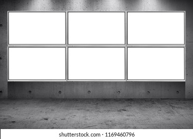 Grid array of advertising billboard led panel on concrete wall building street roadside background