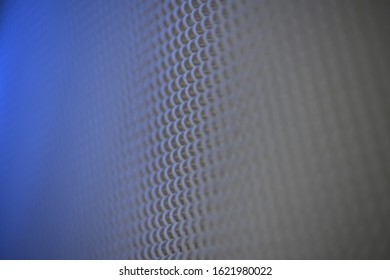 grid curtain with blue light