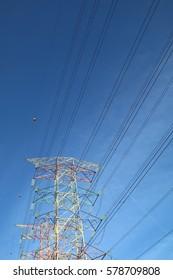 Grid energy on high voltage transmission tower